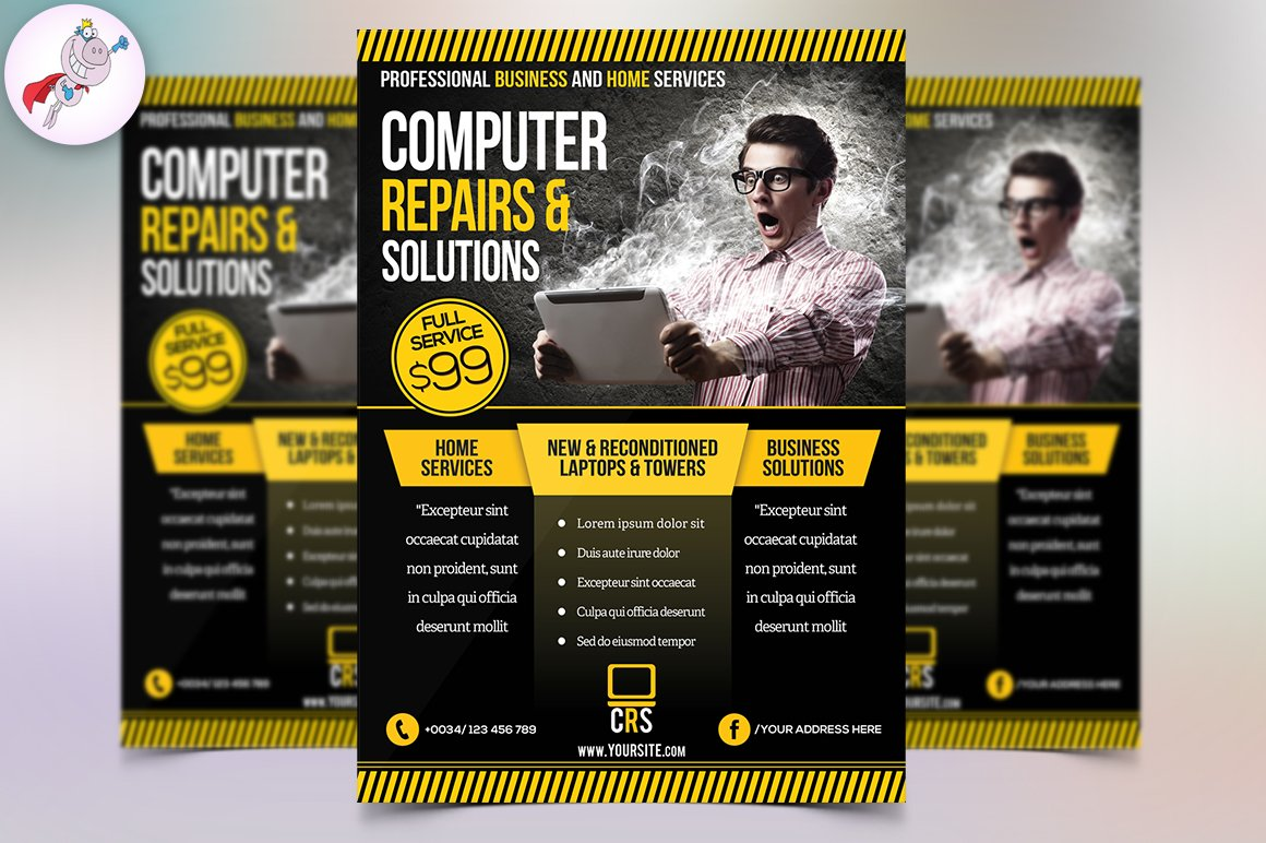 Computer Repair Flyer Template Flyer Templates Creative Market – Computer Repair Flyer Template