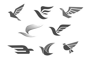 Vector business brand icons of bird wings