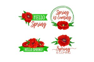 Vector spring time flowers and quotes bouquets