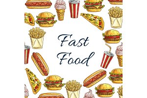 Vector sketch poster for fast food restaurant