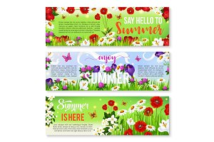 Summer flower greeting banner set design