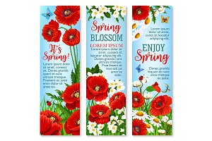 Spring flower field for greeting banner template.