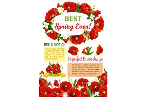 Spring flower wreath for poster template design