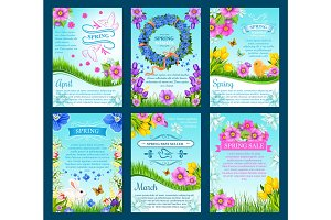 Spring sale and springtime holiday card template