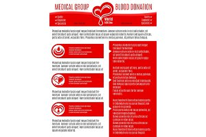 Vector poster for blood donation medical group