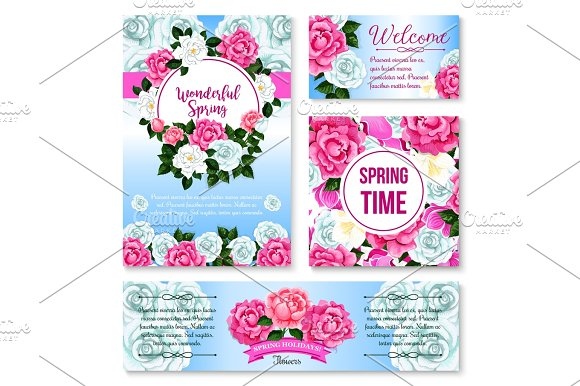 Springtime flower greeting card, banner template