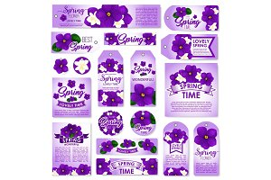 Spring season floral tag, label and card set