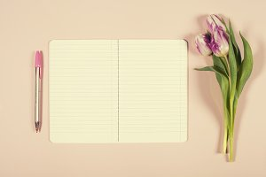 Notebook and tulips