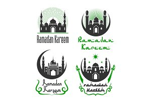 Vector greetings set for Ramadan Kareem holiday
