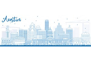 Outline Austin Skyline