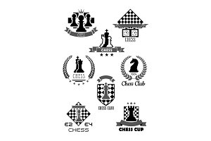 Vector icons for chess club and game contest