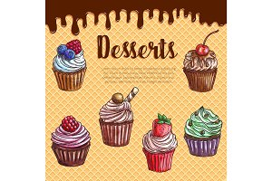 Vector waffle poster with dessert cupcakes