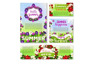 Hello Summer banner template with flower field