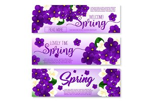 Welcome spring floral banner with flower bouquet