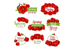 Spring flower wreath icon for springtime design