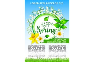Vector spring flowers poster of daffodils bloom
