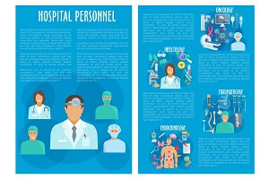 Vector medical brochure hospital personnel doctors