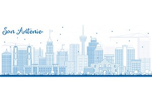 Outline San Antonio Skyline