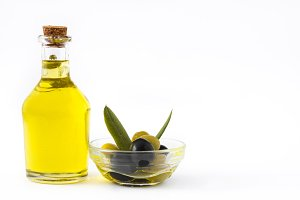 Virgin olive oil in a crystal bottle