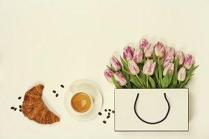 Coffee and spring flowers