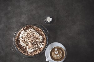 Pie and Latte on a Table