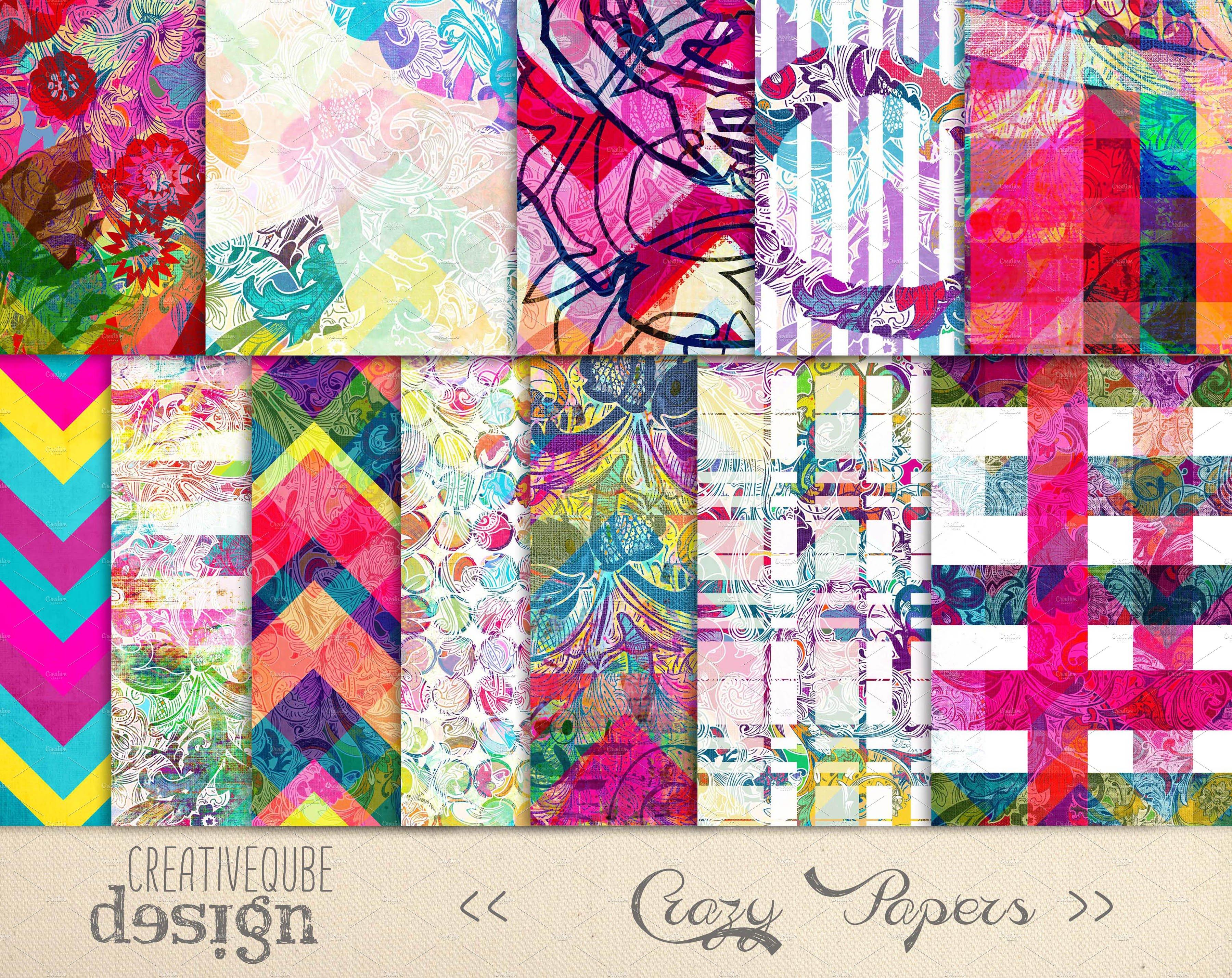 Digital Scrapbook Paper Pack Graphic Patterns Creative Market