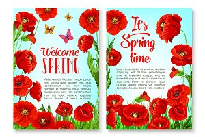 Spring season floral greeting card template