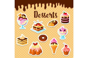 Vector pastry dessert cakes on waffle poster