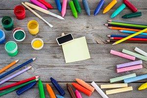 School supplies, crayons, pens, chalks