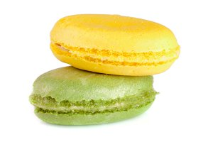 Two macaroons isolated on white background closeup