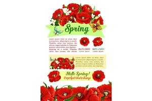 Spring holidays poster with springtime flower