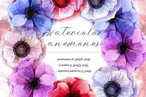Watercolor anemones.