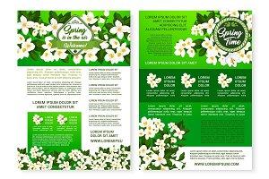 Spring garden flowers poster template design