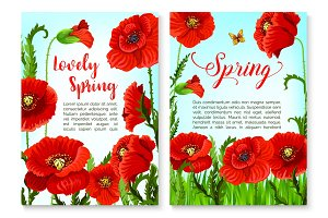 Springtime holidays poster with poppy flower