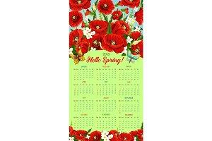 Vector calendar 2018 of spring poppy flowers