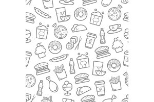 Fast food and seafood vector seamless pattern