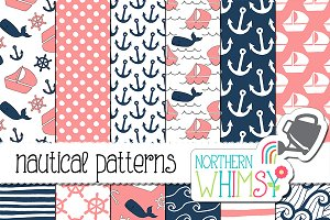 Pink and Navy Nautical Patterns