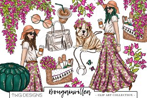 Fashion Girl Boho Chic Clip Art