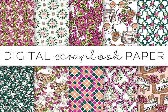 Fuschia Green Floral Digital Papers