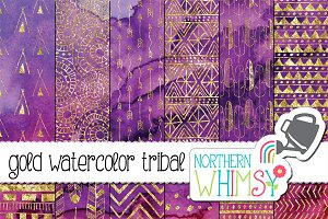 Pink & Purple Tribal Watercolor