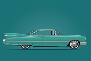 Classic American Car Illustration