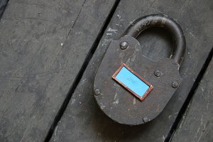 love text and old padlock