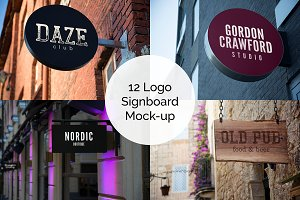12 Logo Signboard Mock-up Bundle