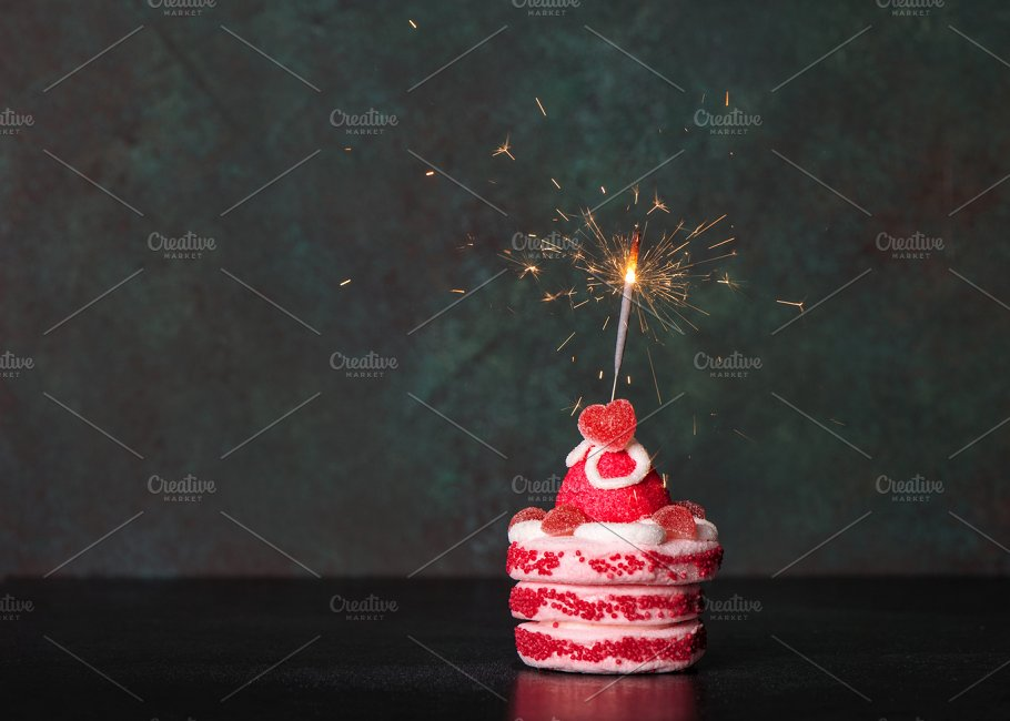 Birthday Cake With Sparkler Holiday Photos Creative Market
