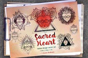 Sacred Heart. 7 Tattoo designs.