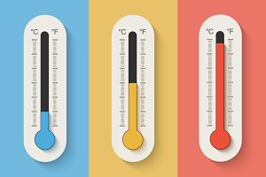 Thermometers on color background