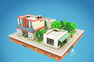Cartoon City Block Low Poly 3D Model