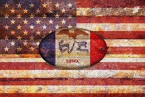 USA and Iowa flags.
