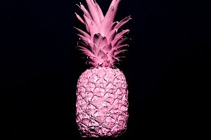 Pink pineapple. Surreal minimal