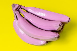 Bananas in pink paint. Surreal